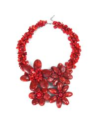 Aeravida | Bold Large Reconstructed Red Coral Flower Garland .925 Silver Necklace | Lyst