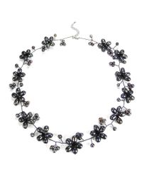 Aeravida - Black Intricate Cultured Freshwater Pearl Flower Link .925 Silver Necklace - Lyst