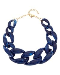 Kenneth Jay Lane - Blue 22k Plated Resin Link Necklace - Lyst
