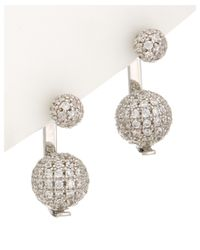 Noir Jewelry | Metallic Silver Double Cz Pave Ball Earrings | Lyst