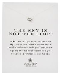 Dogeared - Metallic Silver The Sky Is Not The Limit Airplane Necklace - Lyst