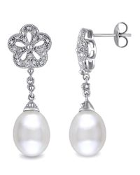 Catherine Malandrino | Metallic Freshwater Cultured Pearl And Diamond Flower Drop Earrings In Sterling Silver | Lyst