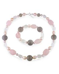 Catherine Malandrino   Multicolor Freshwater Cultured Pearl, Quartz And Grey Agate Strand And Stretch Bracelet   Lyst