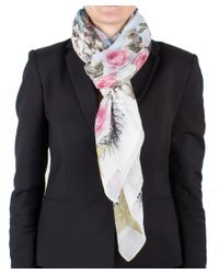 Givenchy   White Women's Chain Border Floral Pattern Cotton Scarf Large   Lyst