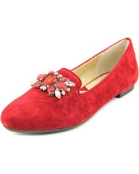 Adrienne Vittadini | Red Dani Women Round Toe Suede Burgundy Flats | Lyst