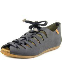 El Naturalista   Stella Women Peep-toe Leather Black Flats   Lyst