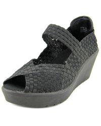 Steve Madden - Black Brynn Open Toe Synthetic Wedge Sandal - Lyst
