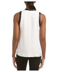 Chelsea and Walker - White Trimmed Silk Blouse - Lyst