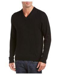 Qi   Black Cashmere V-neck Sweater for Men   Lyst