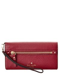 kate spade new york | Red Cobble Hill Rae Leather Wallet | Lyst