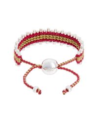 "Links of London - Red """"friendship"""" Silver Cord Bracelet - Lyst"