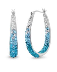 Amanda Rose Collection | Metallic Sterling Silver Blue Ombre Hoop Earrings Made With Swarovski Crystals | Lyst