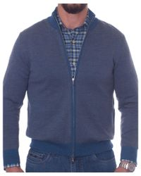 Robert Talbott - Blue Merino Birdseye Jacquard Zip Sweater Jacket for Men - Lyst