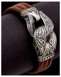 Scott Kay - Metallic Guardian Silver Men's Leather Bracelet - Lyst