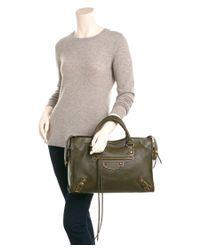 Balenciaga - Green Classic Metallic Edge City Medium Leather Shoulder Bag - Lyst