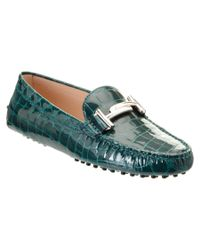 Tod's | Green Gommino Double T Croc Embossed Patent Driving Shoe | Lyst