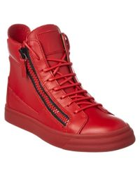 Giuseppe Zanotti | Red Leather High Top Wedge Sneaker | Lyst