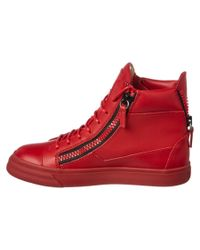 Giuseppe Zanotti - Red Leather High Top Wedge Sneaker - Lyst