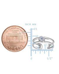 JewelryAffairs | 14k White Gold Cz Bezel Set Double Bar Cuff Style Adjustable Toe Ring | Lyst