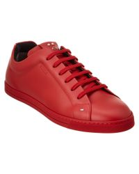Fendi | Red Animoticon Leather Lace Up Sneaker for Men | Lyst