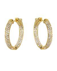 Barzel - Metallic 18k Gold Plated Sterling Silver Gold Plated Cz Hoop Earring - Lyst