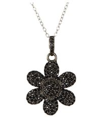 Adornia | Black Spinel And Sterling Silver Flower Power Pendant Necklace | Lyst