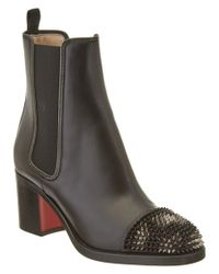 Christian Louboutin | Black Otaboo 70 Spiked Toe Leather Boot | Lyst
