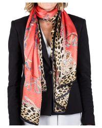 Roberto Cavalli | Pink Women's Logo Floral Animal Print Silk Scarf Large | Lyst