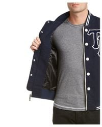 True Religion - Blue Collegiate Leather-trim Jacket for Men - Lyst