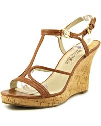 MICHAEL Michael Kors | Brown Cicely Wedge Open Toe Leather Wedge Sandal | Lyst