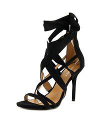 Nine West | Rustic Women Open Toe Canvas Black Sandals | Lyst