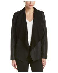 Bernardo   Black Drape-front Leather Jacket   Lyst