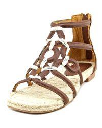 Adrienne Vittadini | Brown Pablic Open Toe Leather Gladiator Sandal | Lyst