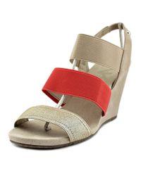 Anne Klein | Metallic Taree Women Open Toe Canvas Gold Wedge Sandal | Lyst