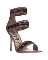 Sam Edelman | Brown Alton Cuff Sandals - Saddle/leopard | Lyst