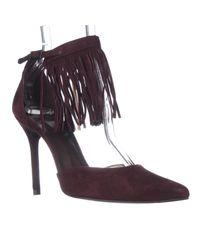 Stuart Weitzman   Purple Fringelica Fringe Ankle Strap Sandals - Currant Sage   Lyst