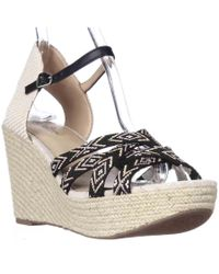 Lucky Brand | Black Mahima Espadrille Wedge Ankle Strap Sandals | Lyst