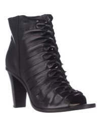 Frye | Sofia Braided Peep-toe Gladiator Booties - Black | Lyst