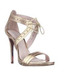 Pour La Victoire | Metallic Shanna Front Tie Sandals - Gold | Lyst