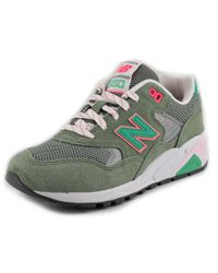 New Balance | Green Wrt580 Women Round Toe Suede Sneakers | Lyst