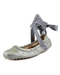 Tod's | Metallic Ballerina Gommini Danza Women Round Toe Leather Silver Dance | Lyst