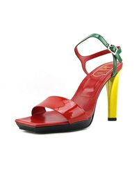 Roger Vivier | Multicolor Regine T.115 Open Toe Patent Leather Sandals | Lyst