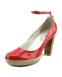 Tod's | Pink Asp Decollete T. Cuoio Open-toe Patent Leather Heels | Lyst