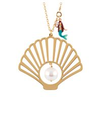Les Nereides | Metallic I Am A Mermaid Shell, Pearl And Little Mermaid Charm Long Necklace | Lyst