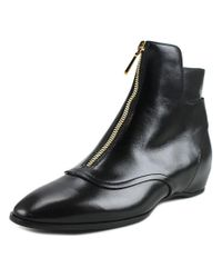 Tod's | Cuoio T20 Uq Tronchetto Zip Women Round Toe Leather Black Bootie | Lyst