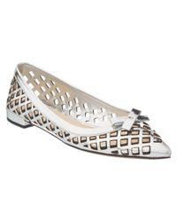 Prada | Gray Laser Cut Metallic Leather Pointy-toe Flat | Lyst