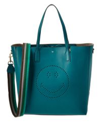 Anya Hindmarch | Blue Smiley Ebury Leather Tote | Lyst