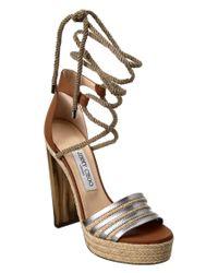 Jimmy Choo | Multicolor Mayje Metallic Leather & Raffia Platform Sandal | Lyst