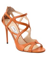 Jimmy Choo   Brown Leslie 100 Leather Strappy Sandal   Lyst