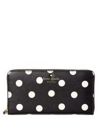 kate spade new york | Black Cedar Street Dot Lacey Leather Wallet | Lyst